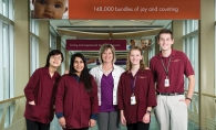 Nancy Schaber helps train youth volunteers at Fairview Southdale Hospital.