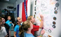 Amelia Hauser, Liana Hazucha and Ellie Teien practice their French at Normandale Elementary French Immersion School.