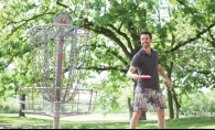 Bobby Hart tries out the disc golf course at Rosland Park.