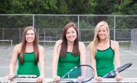 From left, Caitlyn Merzbacher, Kelly Reger and Mackenzie Marinovich hope to help score another state title for the girls tennis team.