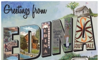 This 1930s-style postcard uses a collection of images from the Edina Historical Society.