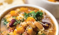 Butternut squash minestrone soup made in an Instant Pot.
