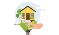 An illustration of a seller passing house keys to a buyer.