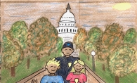 A drawing on a lunchbag. Bradley Smith and his children stand in front of the U.S. Capitol