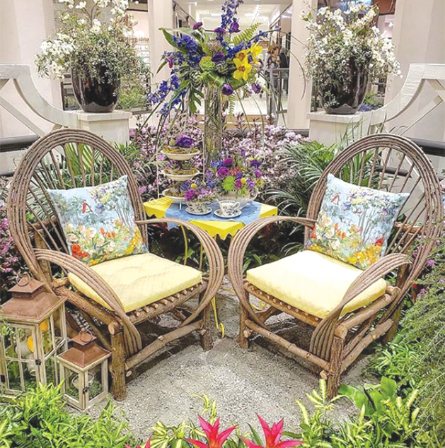 Patio furniture on display at the Galleria Garden Party