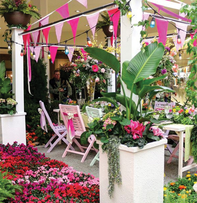 A flower display at the Galleria Garden Party
