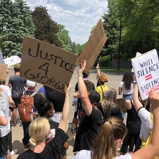Protesters at a march for justice for George Floyd in Edina