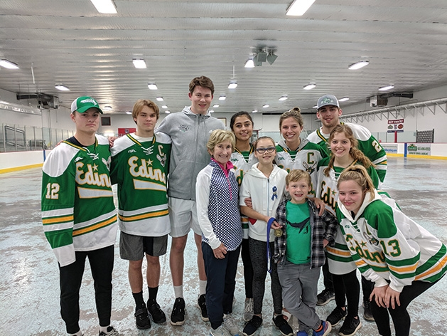 Hockey players pose for a photo at the 2019 Big Futures Tournament and Family Festival.