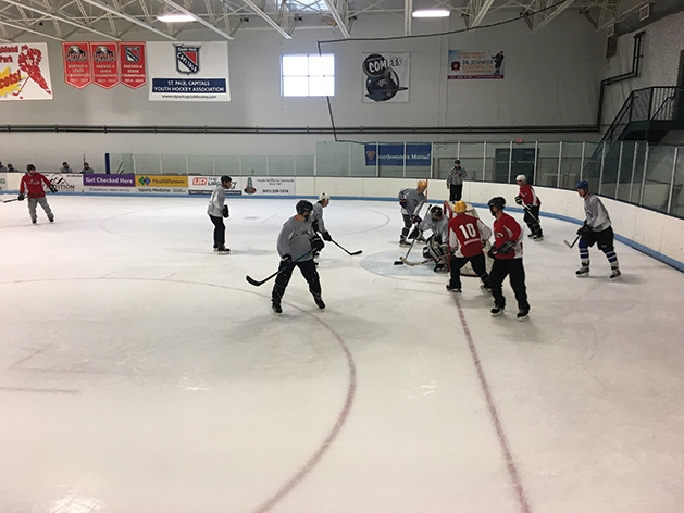 Hockey players on the ice at the 2019 Big Futures Tournament and Family Festival.
