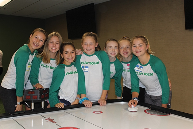 A group of girls at the Girls' Sports Summit.