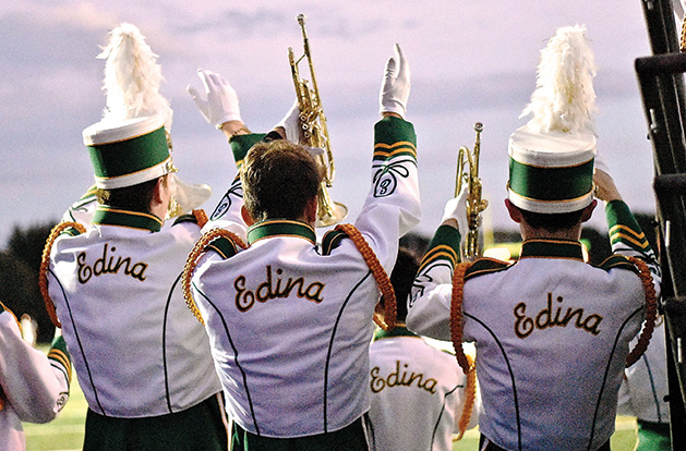 The Edina pep band plays for the Hornets.