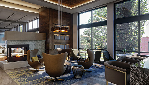 The lobby of Avidor senior living apartments in Edina.