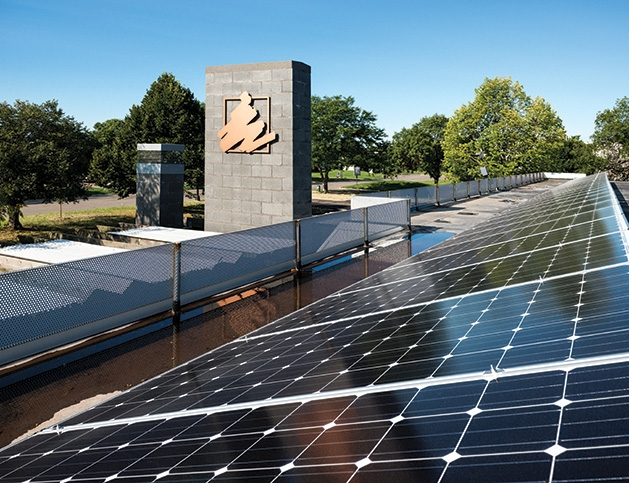 Solar panels on the roof of Accredited Investors, a wealth management firm in Edina.