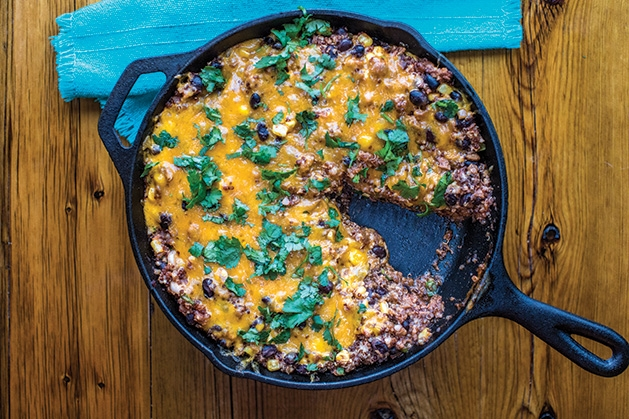 "One skillet turkey enchilada quinoa, a 30-minute recipe from Taylor Ellingson's ""The Easy 30-Minute Cookbook"""