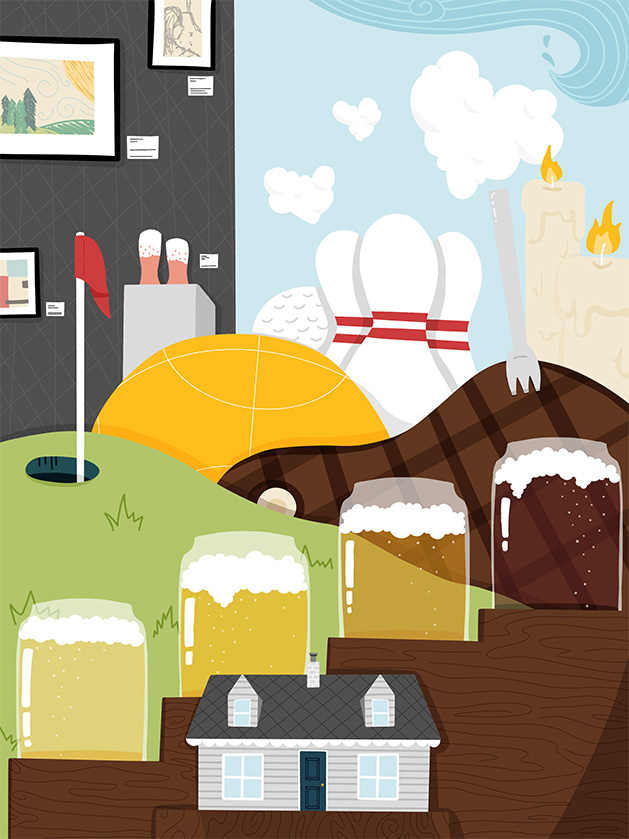 An illustration of the many activities, events and places available for couples looking to staycation in Edina