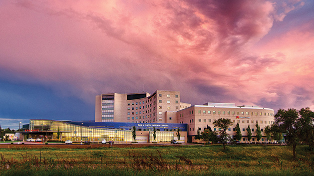 A storm cloud approaches the sky over Fairview Southdale Hospital, which has won back-to-back five-star awards from the Centers for Medicare and Medicaid Services.