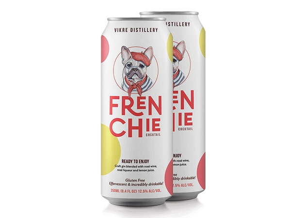 Two cans of Frenchie pre-mixed cocktails from Vikre Distillery