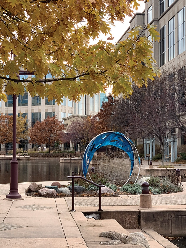School of Fish, a new sculpture in Centennial Lakes Park