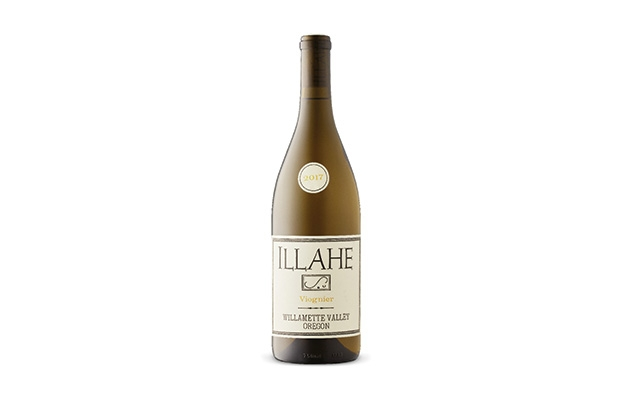 A bottle of viognier wine by Illahe Vineyards.