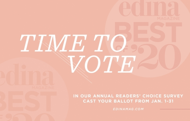 A graphic announcing voting for the 2020 Best of Edina Magazine readers' choice survey.