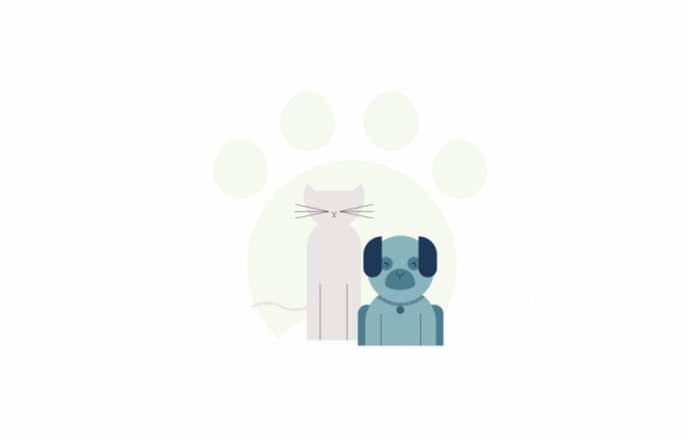 An illustration of a cat and dog.
