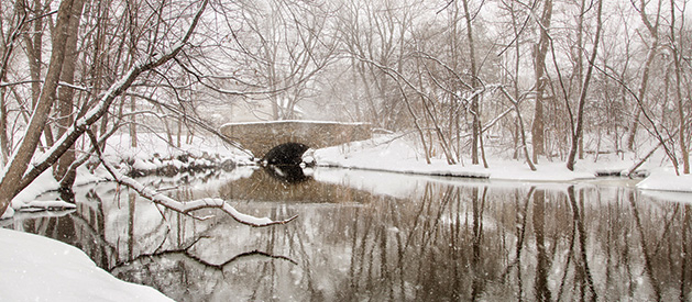 A snowy shot of the Wooddale Avenue bridge in Edina.