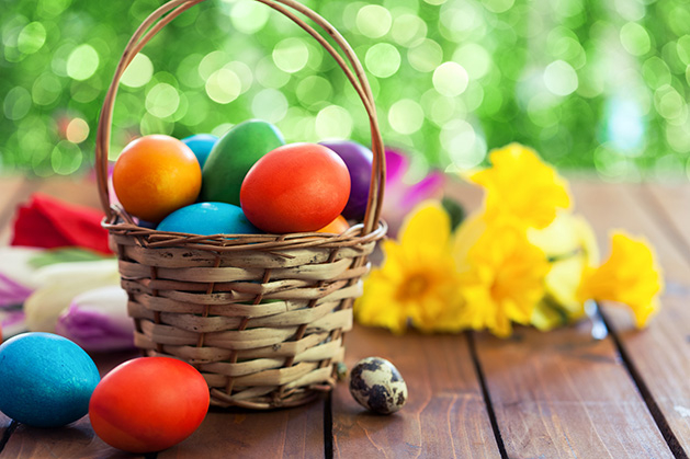 An Easter basket filled with colorful eggs