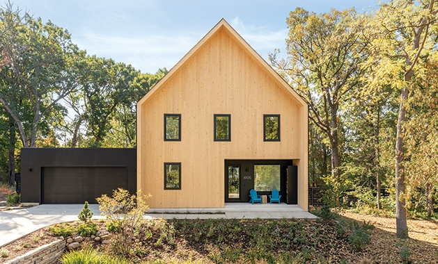 Front exterior of a Scandinavian style home in Minnesota