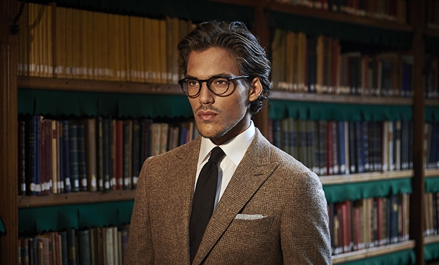 A man models a suit from Suitsupply at the Galleria Edina