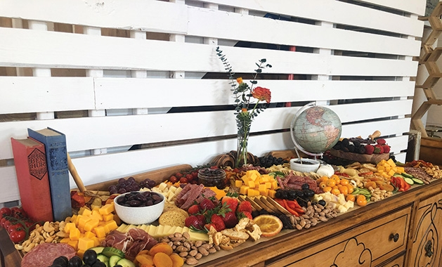 A grazing table set up by Tonja's Table
