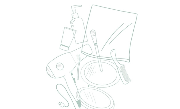 Illustrated images of common bathroom beauty items.