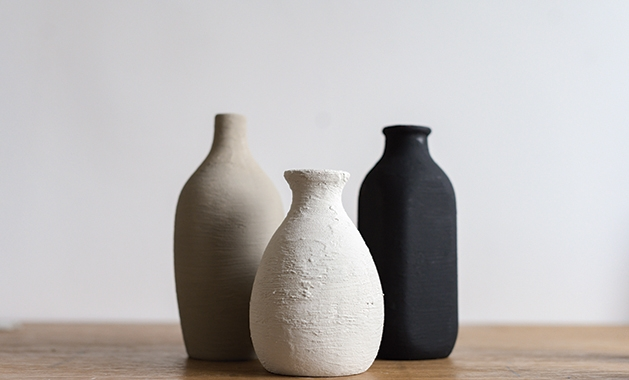 """""""terra cotta"""" vases made from baking powder and paint"""