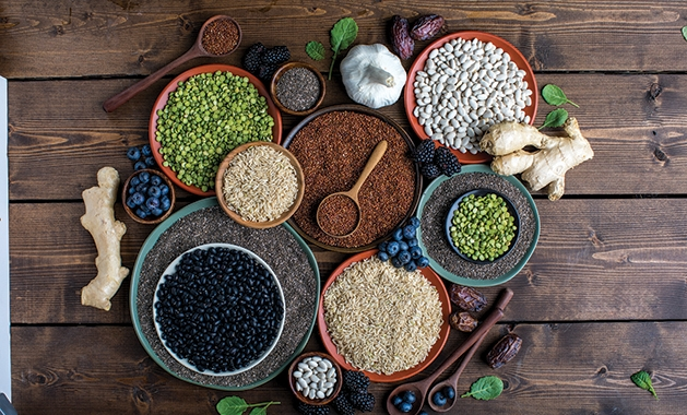 Bowls of super foods that can help boost your immune system.