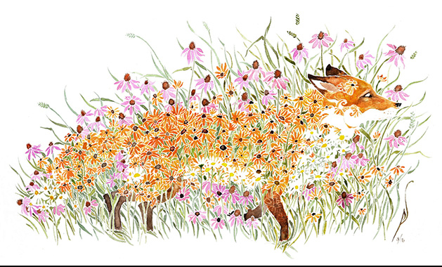 Pete Sandker's Half Healed, the featured watercolor painting at this year's Edina Art Fair, depicts a fox made of flowers.