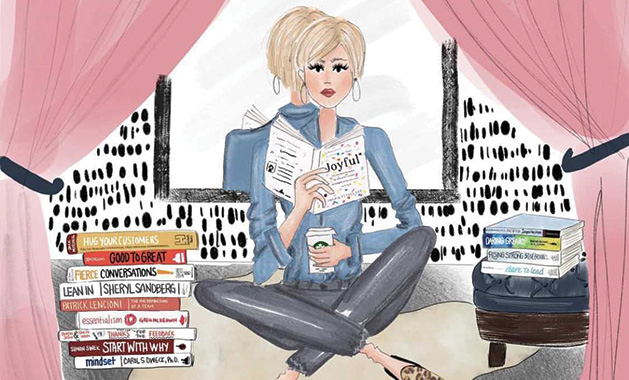 A painting of Evereve owner Megan Tamte reading books on business by Minneapolis artist Erin O'Leary.