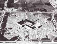 An historical photo of Southdale Mall from overhead.