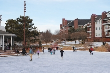 The ice skating rink at Centennial Lakes Park in Edina