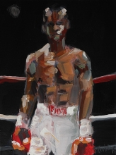 Painting of a boxer by Richard Merchan