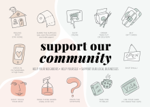 An illustration showing ways to support your community during the COVID-19 (coronavirus) pandemic.