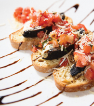 A plate of bruschetta for Mother's Day Brunch.