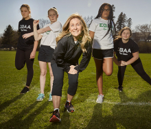 Tanya Dowda and members of the Edina Girls Athletic Association run team.