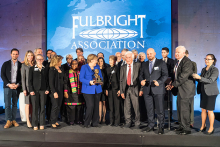 The Fulbright Association awards the Fulbright Prize for International Understanding to German Chancellor Angela Merkel in Berlin.