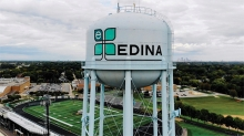 The Edina watertower seen from the air.