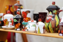 Ceramics sit on a shelf at the Edina Fall Into the Arts Festival