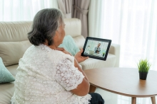 A patient video chats with a doctor at the Normandale Center for Healing and Wholeness.