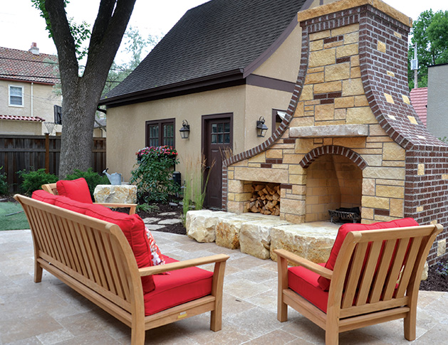 A fireplace built by Yardscapes