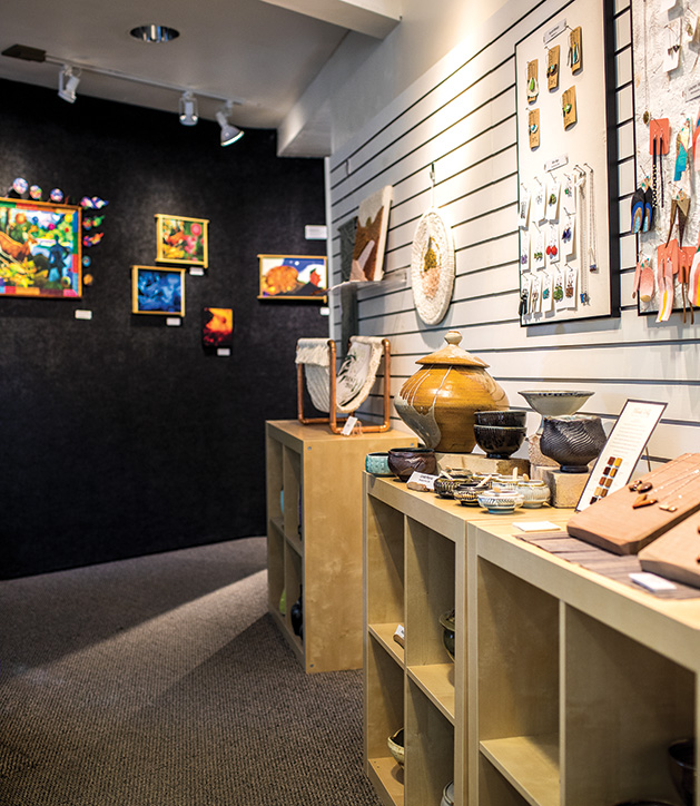 A collection of works in various mediums at the Edina Art Center.