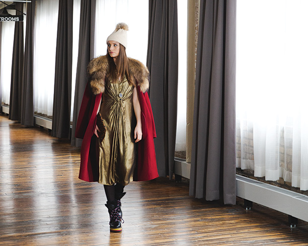 A model shows off various winter wardrobe items from shops in Edina.