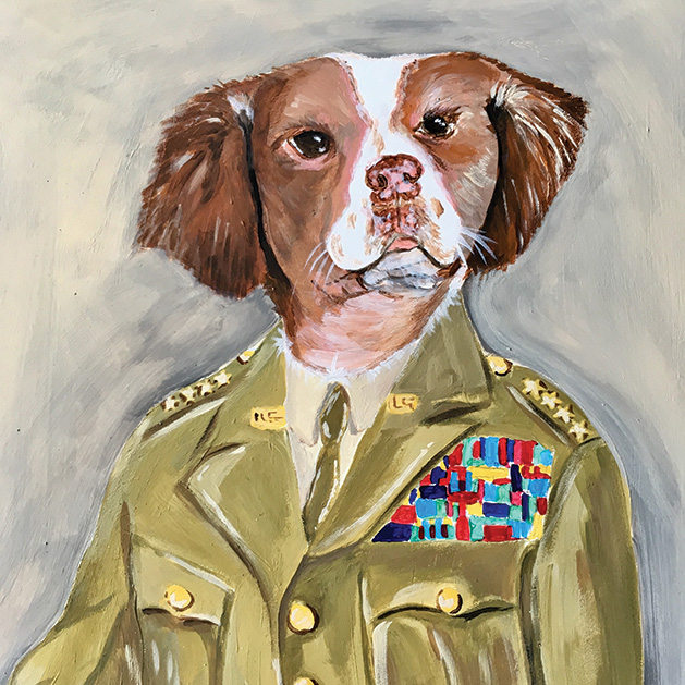 A portrait of a dog wearing a general's uniform.