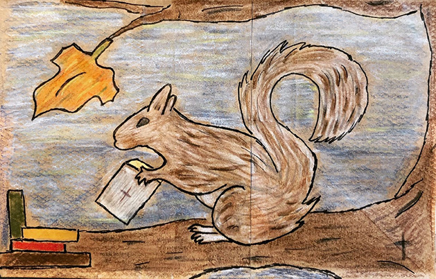 Lunch bag art depicting a squirrel on a tree branch.